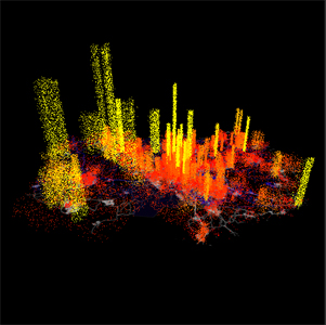 A shot from one of Aaron Koblin's awesome visualizations (http://sandbox.aaronkoblin.com/)