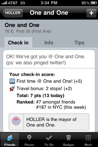 Checking in always rewards you with points, and you may just become Mayor