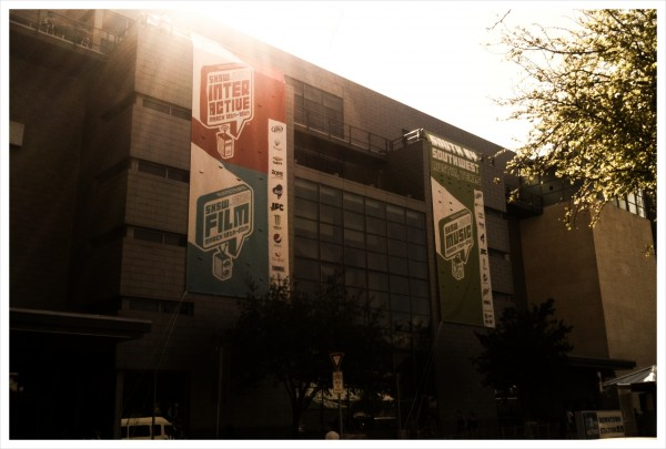 SXSW banners outside Austin's conference centre (image by Ben Shaw)