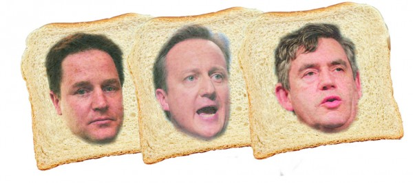 Clegg, Cameron and Brown (image courtesy of Campaign magazine)